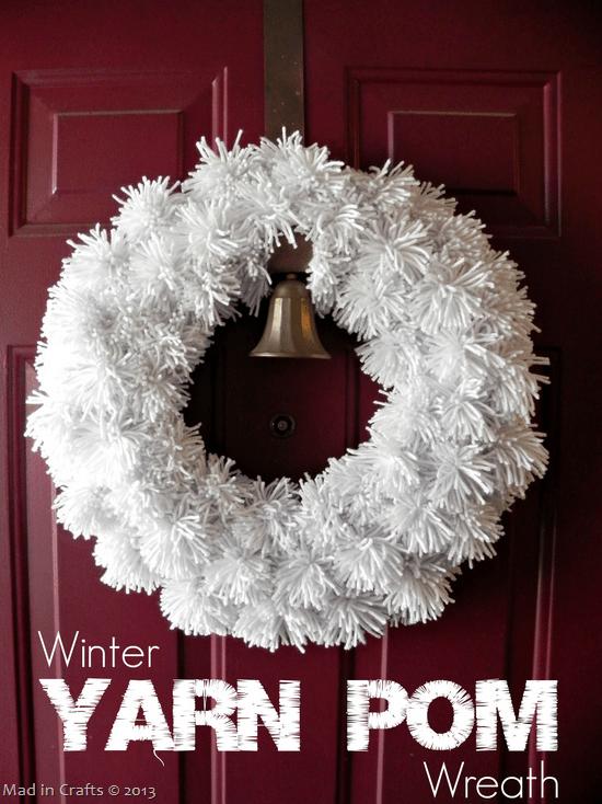 DIY Winter Yarn Pom Wreath