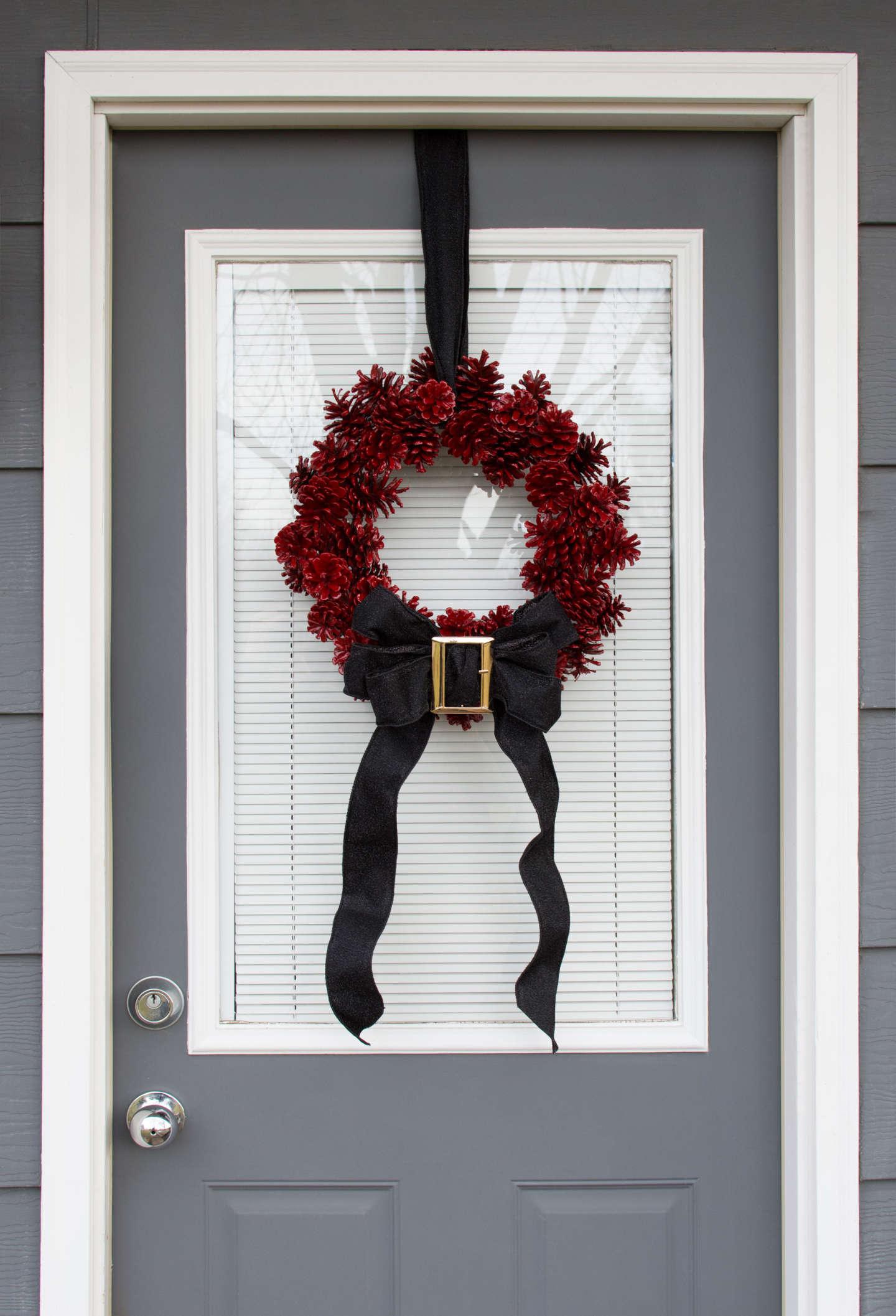 DIY Pine Cone Santa Wreath