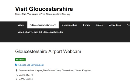 Our Glos Airport Webcam is now featured on the Visit Gloucestershire website.
