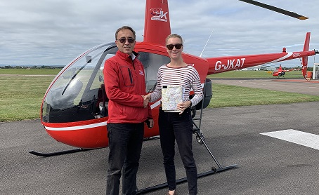 Another helicopter pilot has passed her PPLH test with the James Kenwright training school.