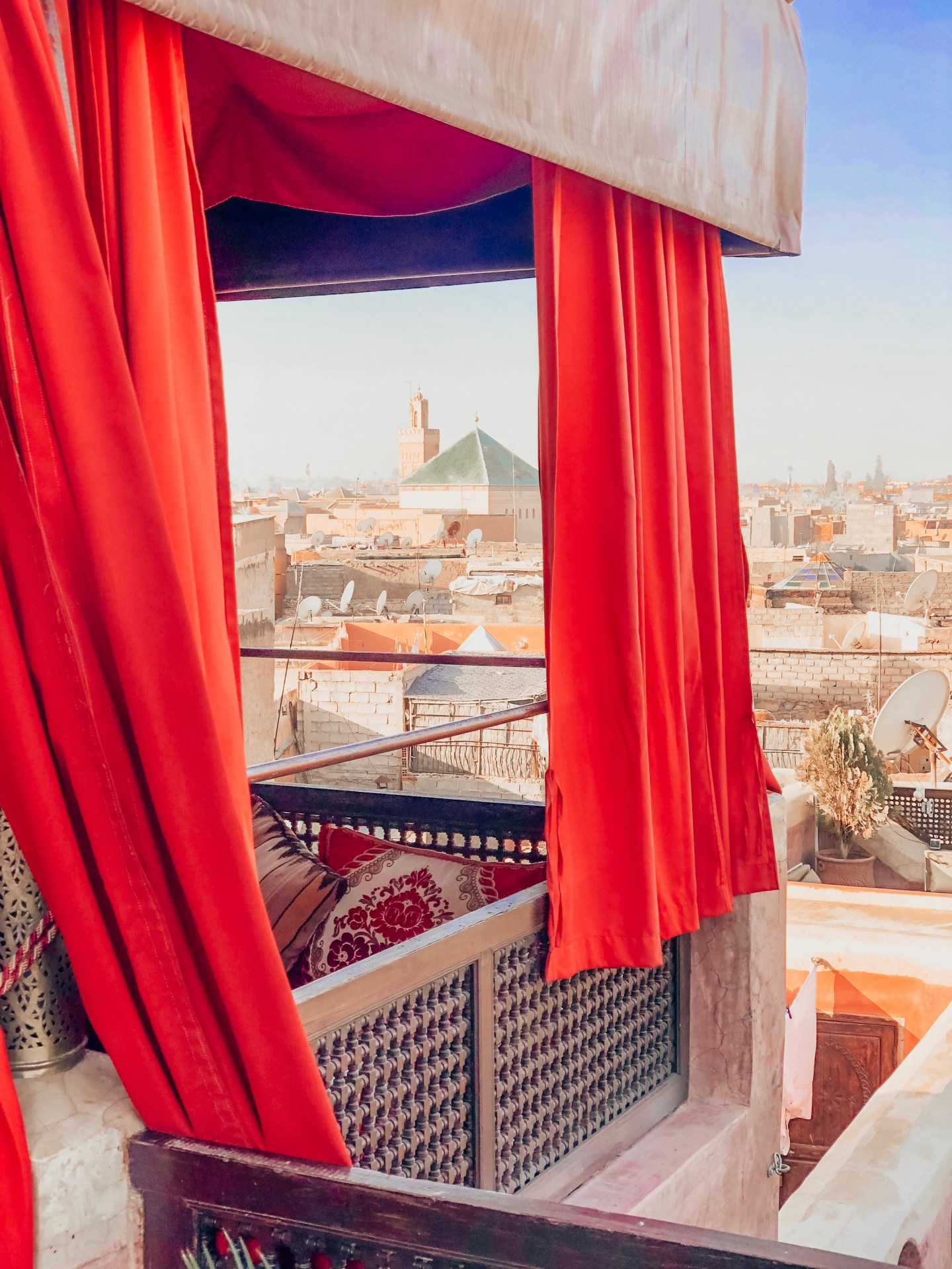 Marrakech rooftop view from a riad
