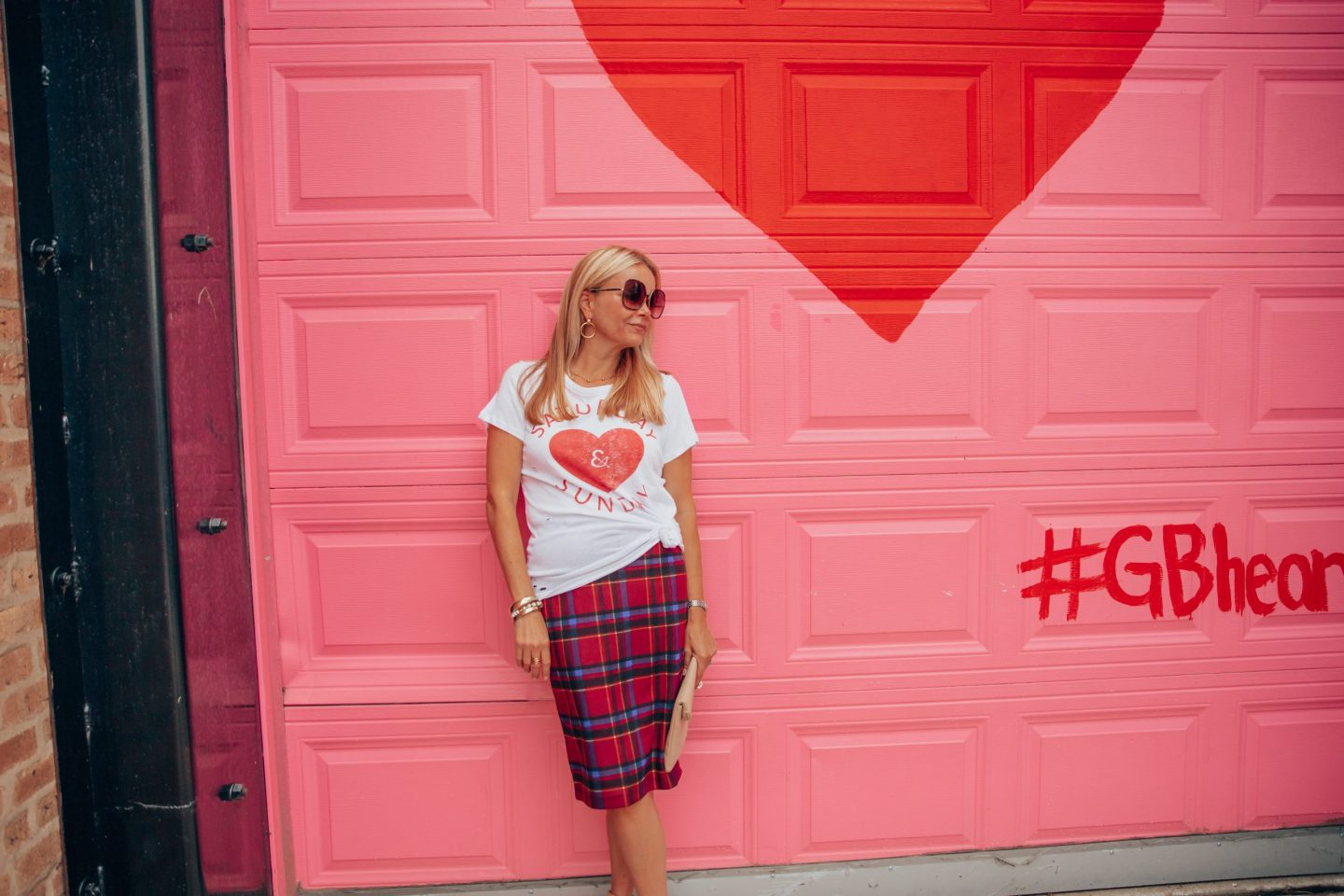 Holiday Plaid Picks-Plaid pencil skirt with Chaser brand Graphic t-shirt  as seen on style & travel blogger Gloss and Harbour