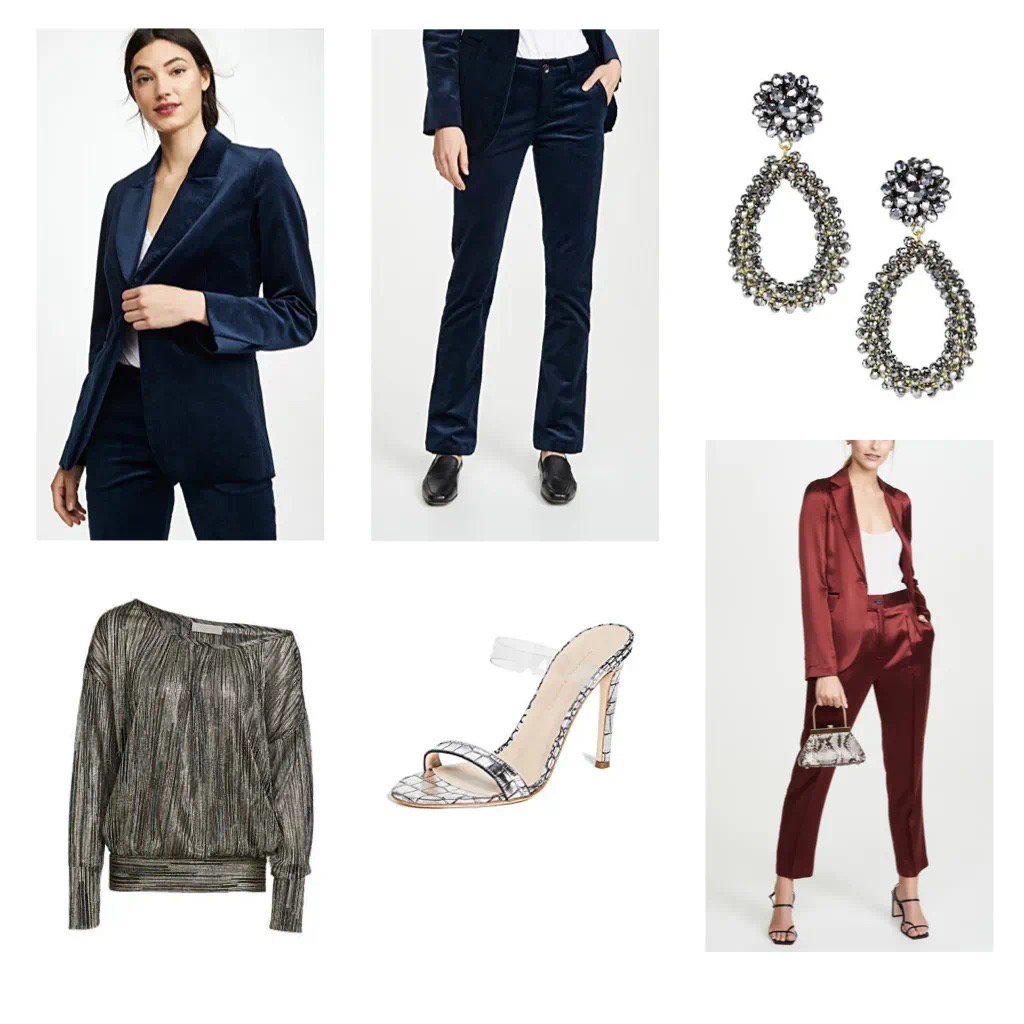 Velvet Suit for a Holiday Work Party Holiday Party with Strappy Heels and Lisi Lerch Earrings as shown on Style and Travel Blog, Gloss & Harbour