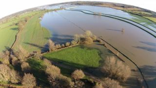 Flooding around Bodiam Castle