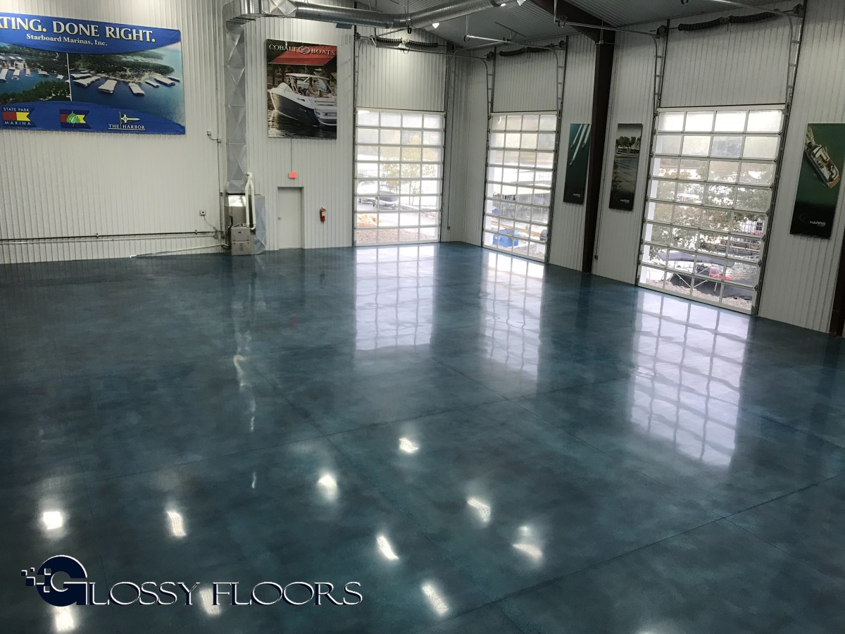 Stained polished concrete showroom for Stained polished concrete floor