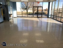 polished concrete with a multicolored logo Polished Concrete With A MultiColored Logo Polished Concrete Showroom with Logo 2