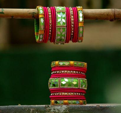 Mirror work thread bangles