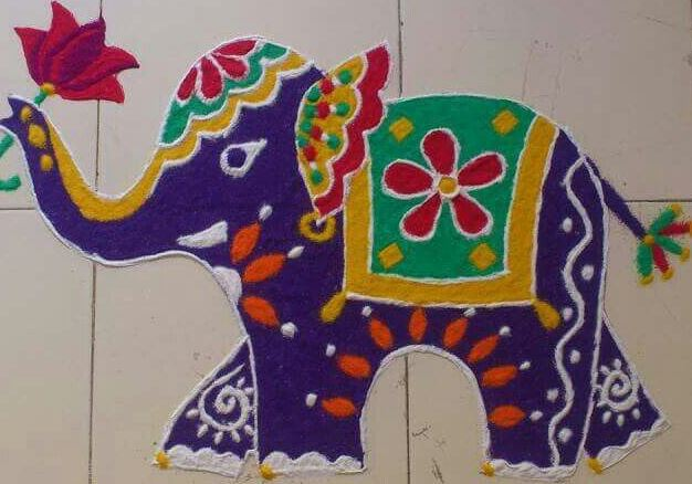 Elephant kolam design