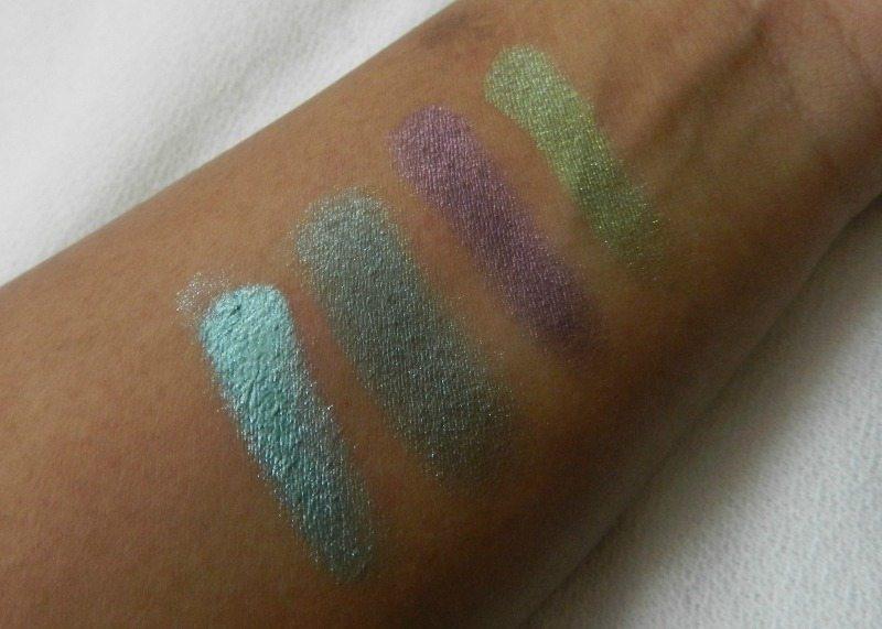 Faces I shine Green Quartet Eye Shadow Review 1