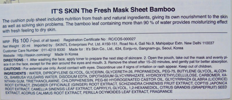 It's Skin The Fresh Mask Sheet Bamboo Moisture & Fresh Review 3