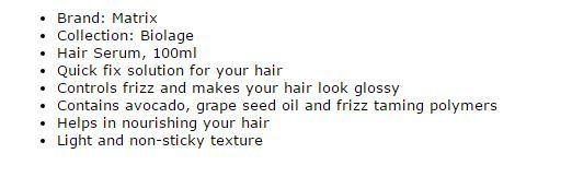 Matrix Biolage Hair Smoothening Serum 2