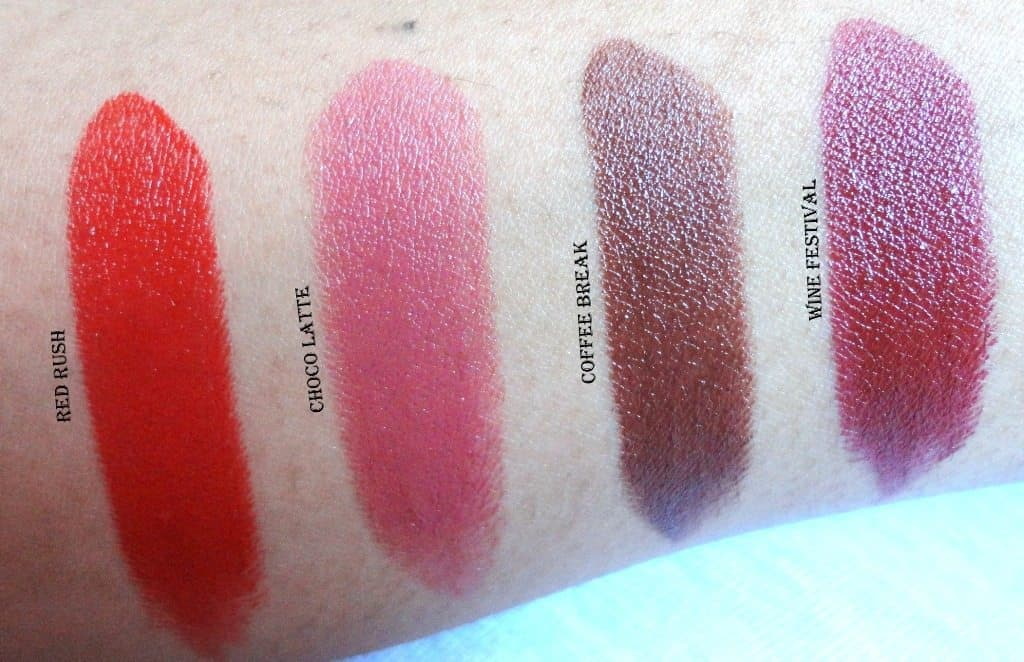 Maybelline Colorshow Lipstick Red Rush , Choco Latte , Wine Festival And Coffee Break Swatches And Review 3