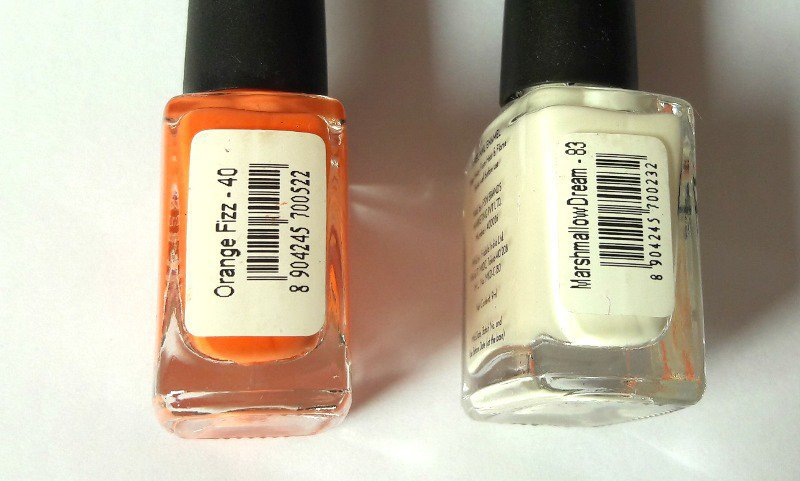 Nykaa Nail Enamel Orange Fizz and Marshmallow Dream 1