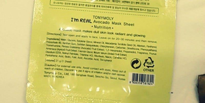 Tony Moly I'm Real Avocado Mask Sheet Nutrition Review