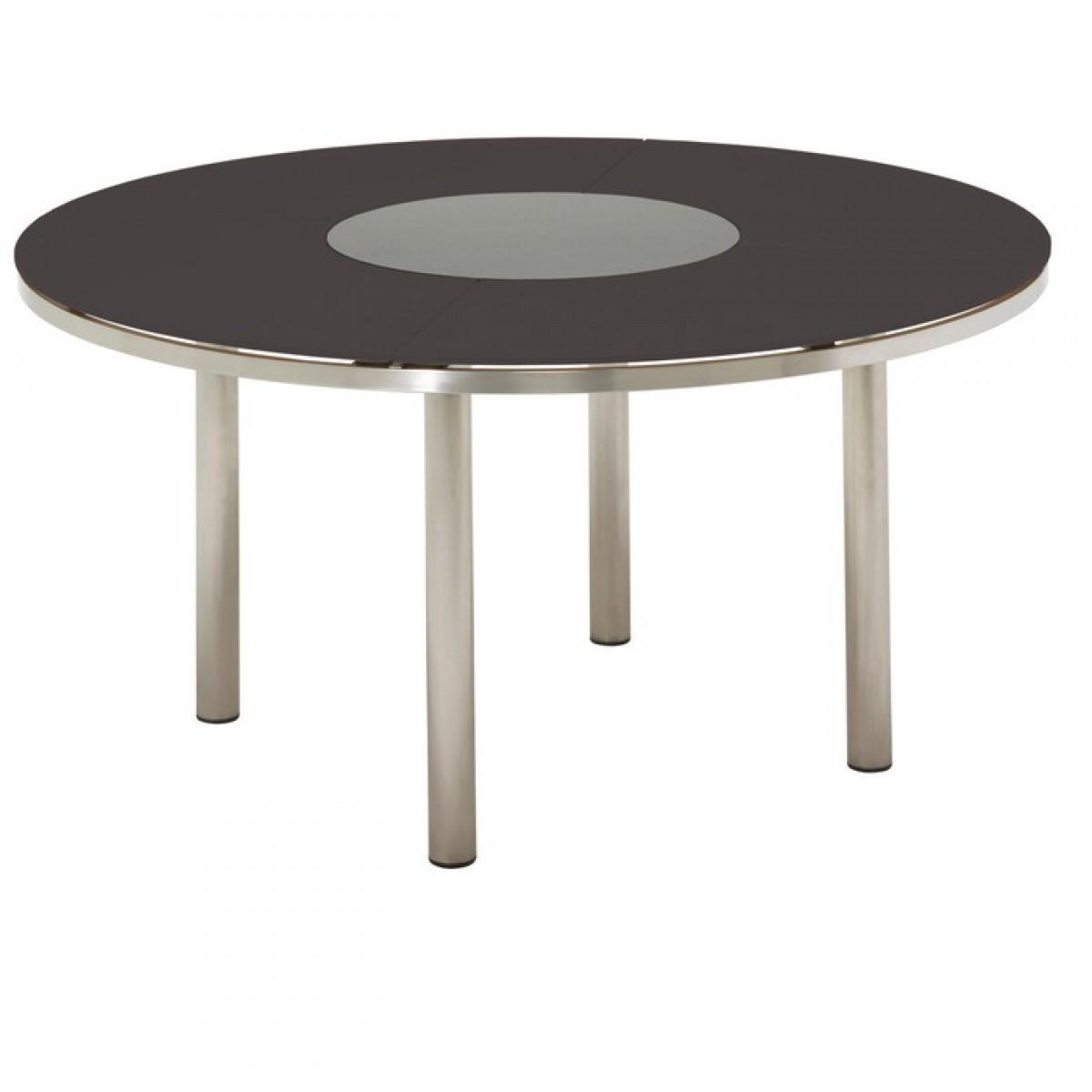 kore 58 5 round table glass top slate w lazy susan