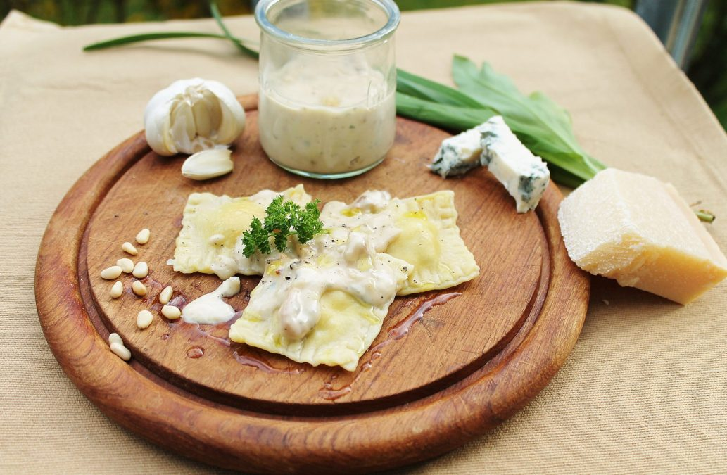 Home-made Ravioli with a Parmigiano Reggiano, Wild Garlic, Ricotta and Pine Nut Filling
