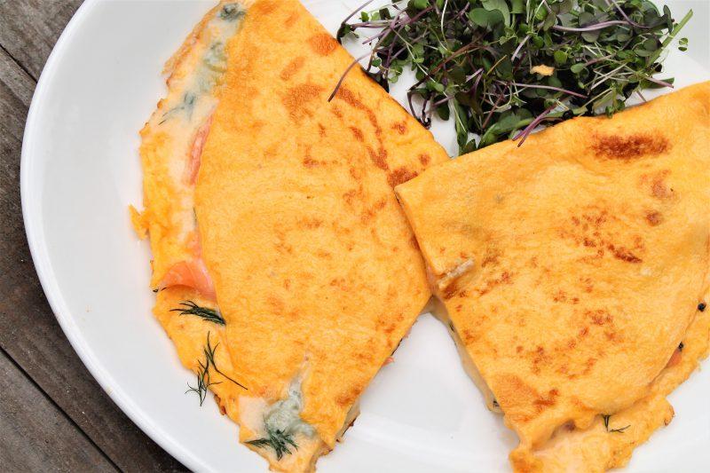 Smoked Salmon, Parmigiano-Reggiano and Gorgonzola Dolce Omelette