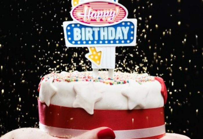 Happy Birthday Retro Cake Topper