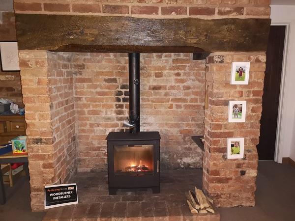 Multi fuel stove installation in Uffculme, Devon.