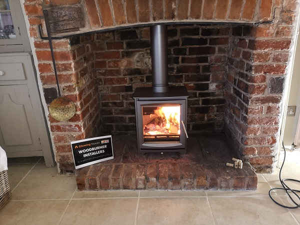 Wood burner installation in Ilminster, Somerset.