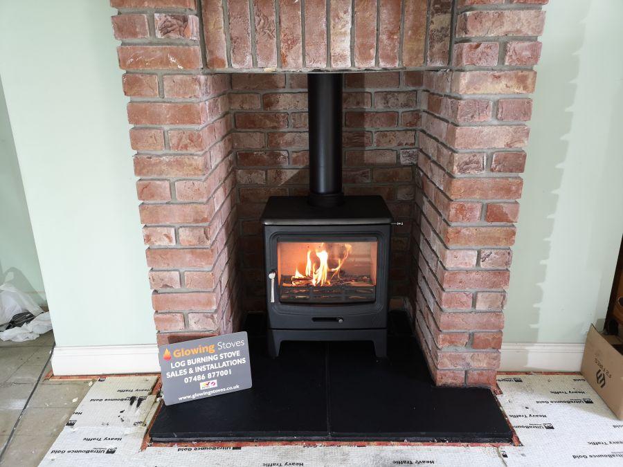 Multi-fuel stove installation in Catcott, Bridgwater.