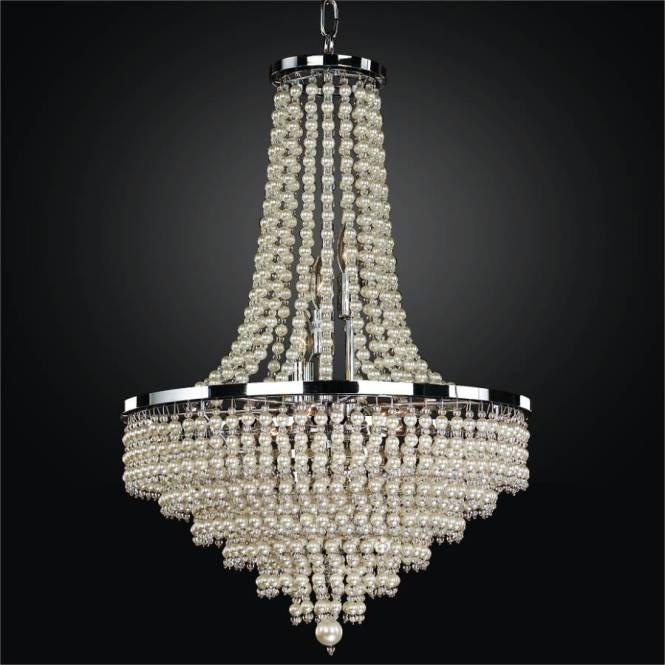 Empire Chandelier Trimmed With Faux Pearl Beads By Glow Lighting
