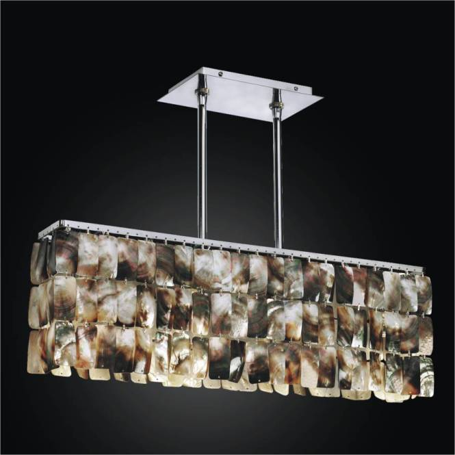 Linear Chandelier Mother Of Pearl Light Fixture Night Shades 622