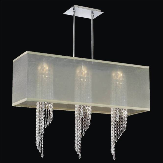 Rectangular Shade Chandelier With Spiral Crystal Ocean Wave 617 By Glow Lighting