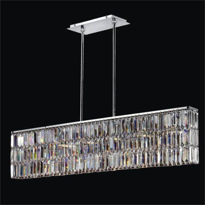 Rectangular Pendant Chandelier With Shaped Crystal Reflections 600 By Glow Lighting