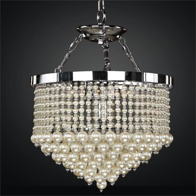 Beaded Pendant Chandelier With Faux Pearl Beads Vintages 641 By Glow Lighting