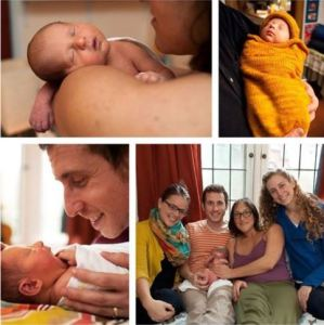 4 panel image of baby sleeping and family smiling