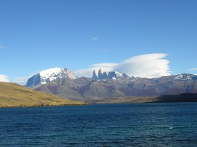 Water below the mountain peaks in Chile.