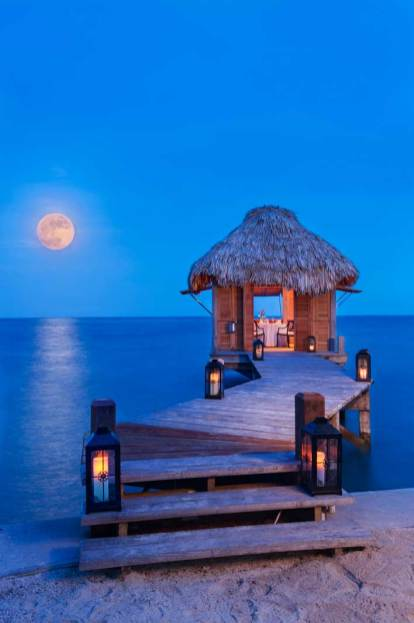 A spa cottage on the water in Belize.