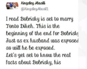 Tonto Dikeh Will Expose Bobrisky Same Way She Exposed Her Ex-husband – Kingsley Abasili Says