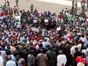 Image result for Saraki with workers in abuja