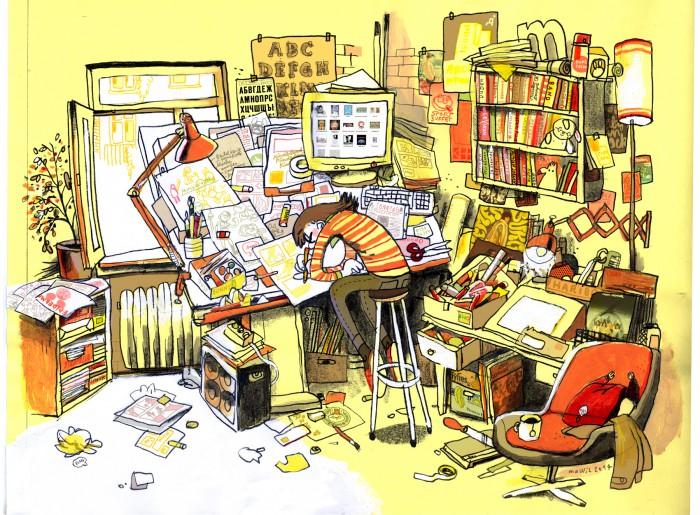 Mawil am Schreibtisch als Zeichnung: Credit: Mawil