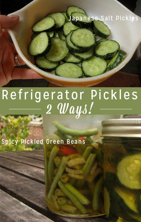 Refrigerator Pickles: Japanese Salt Pickles + Spicy Pickled Green Beans - If you're new to pickling, refrigerator pickles are a great way to start. No hot water bath - just delicious pickles!