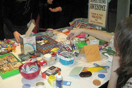 Crafters at the Make Something Awesome table at last year's Summit