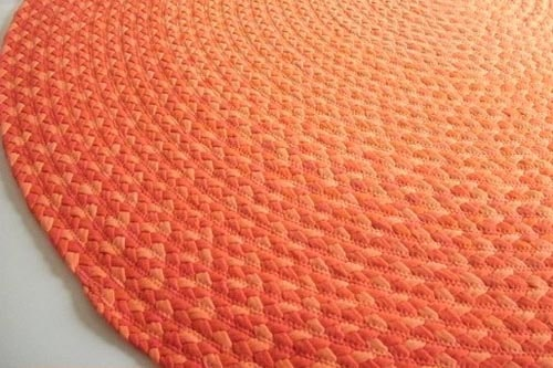 orange rag rug