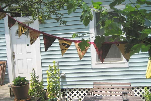 bunting hanging in the backyard