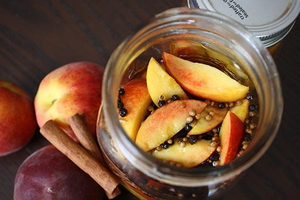 Pickled Peach Bellini Recipe - Sweet pickled peaches in a bubbly Bellini? Don't mind if I do!