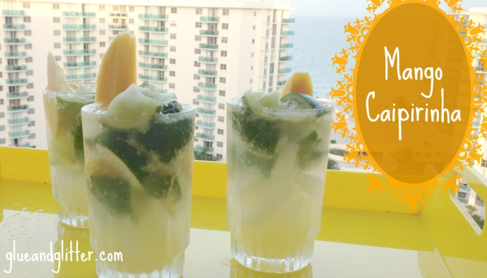 A caipirinha is a Brazilian cocktail packed with lime, and this version is also packed with mango goodness!