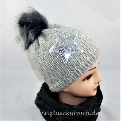mütze grau stern