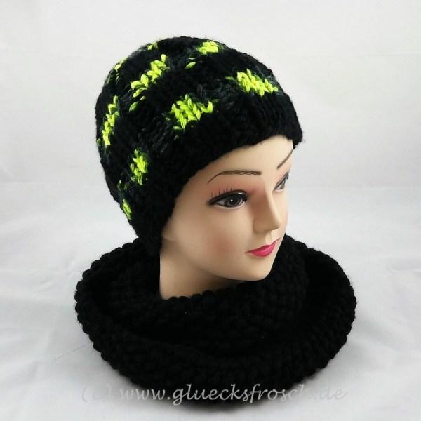 Mütze schwarz neon gelb