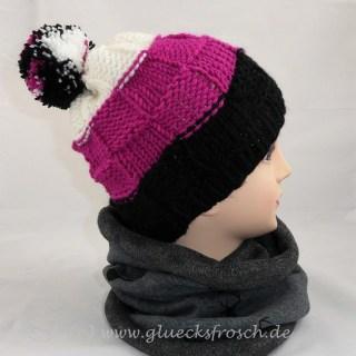 Mütze, schwarz, pink, weiß m Bommel