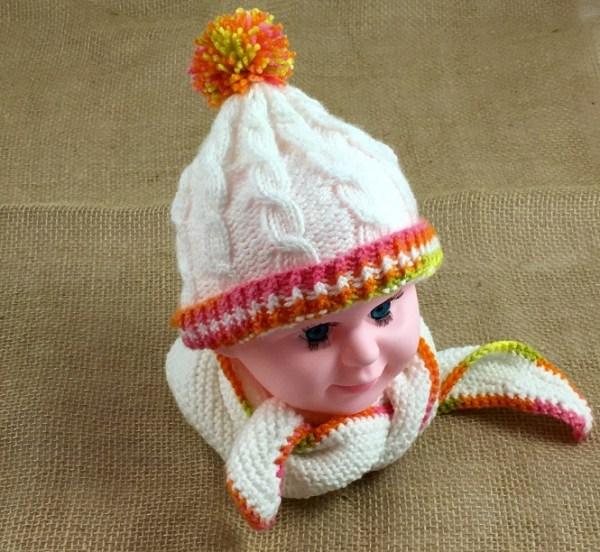 mütze und schal weiß baby