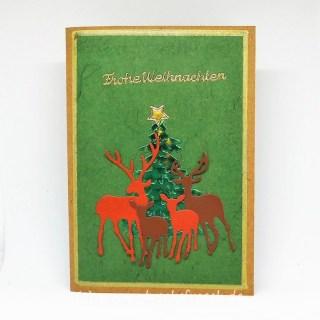 Weihnachtskarte Rehe Kraftpapier