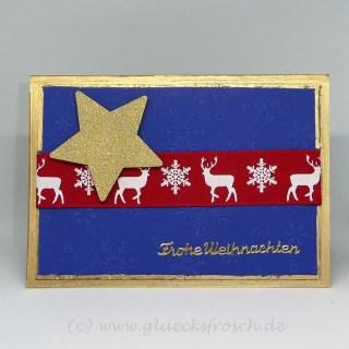 Weihnachtkarte blau 3