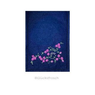 Mutterpasshülle, dunkelblau, rosa Rosen