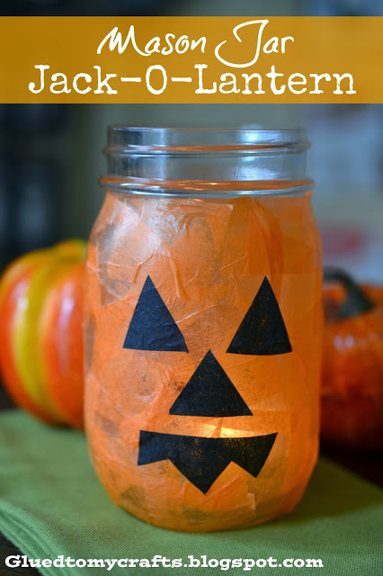 Mason Jar ~ Jack-O-Lantern {Craft}